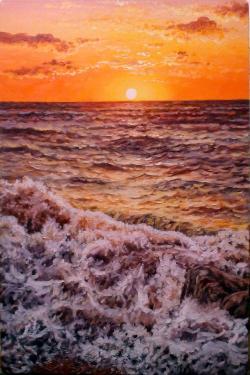 Picturi maritime navale apus la mare, 2016