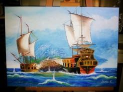 Picturi maritime navale Razboi maritim