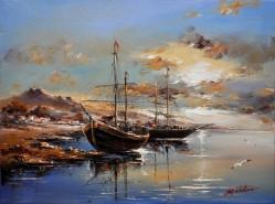 Picturi maritime navale Apus la tarm-1