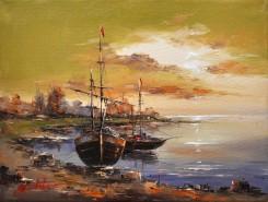 Picturi maritime navale Apus la tarm-2
