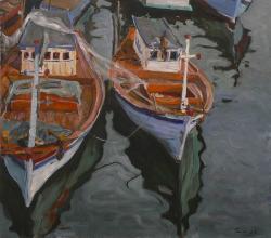 Picturi maritime navale Barci pe rau