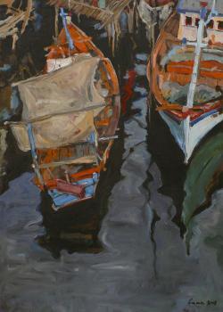 Picturi maritime navale Pe rau 1