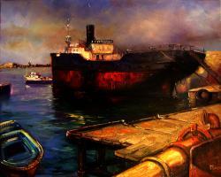 Picturi maritime navale apus in port 1