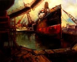 Picturi maritime navale ceturi in port