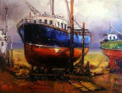 Picturi maritime navale dimineata in port