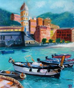 Picturi maritime navale Vernazza Mediterranean Harbour