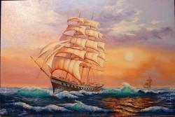 Picturi maritime navale Apus pe valuri