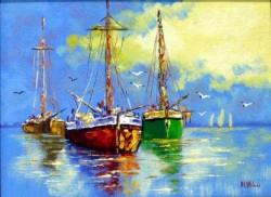 Picturi maritime navale Rosu si verde