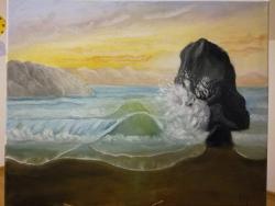 Picturi maritime navale Valuri printre stanci