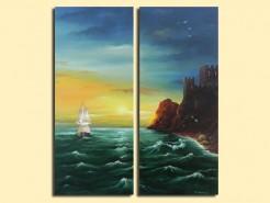 Picturi maritime navale Corabie la castel