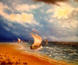 Picturi maritime navale Corabii la malul marii