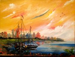 Picturi maritime navale Barcute la mal 1