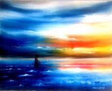 Picturi maritime navale Corabie in apus 2