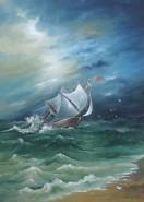 Picturi maritime navale Corabie la mal