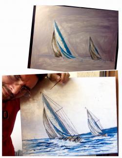 Picturi maritime navale Doua barci in valuri
