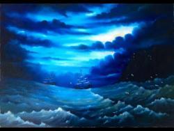 Picturi maritime navale Noapte pe mare