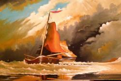 Picturi maritime navale Peisaj cu nave