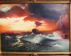 Picturi maritime navale Apus la malul marii