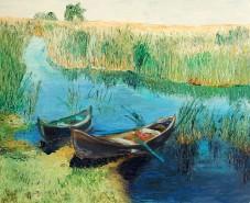 Picturi maritime navale Barci in delta