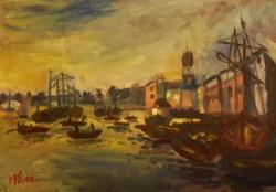 Picturi maritime navale Portul londrei
