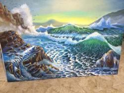 Picturi maritime navale valuri lovit în stinca