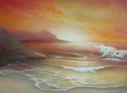 Picturi maritime navale Apus de soare la sorinot