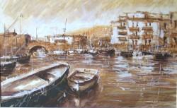 Picturi maritime navale Barci in portul vechi