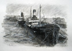 Picturi maritime navale Constanta  -  portul vechi