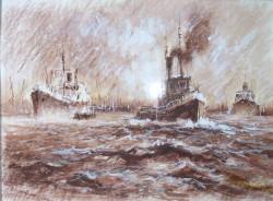 Picturi maritime navale Remorchere in portul constanta