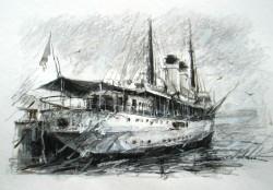 Picturi maritime navale Vaporul dacia - constanta