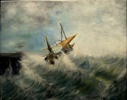 Picturi maritime navale Furtuna la tarm