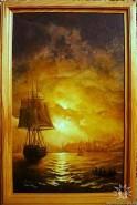 Picturi maritime navale Apus in portul odessa