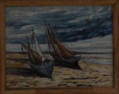 Picturi maritime navale Barcute pe nisip