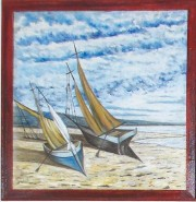 Picturi maritime navale Barcute pe tarm