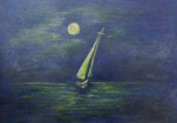 Picturi maritime navale Nocturna pe mare