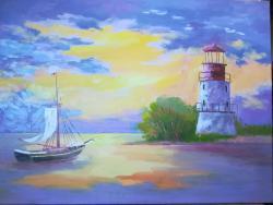 Picturi maritime navale Farul de la Sulina