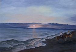 Picturi maritime navale Walking on the beach at sunrise