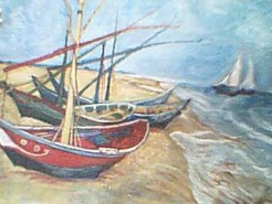 Picturi maritime navale Barci de pescuit pe plaja de la saintes-maries-de-la-mer