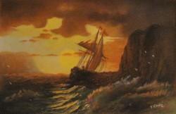 Picturi maritime navale Corabie in amurg