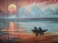 Picturi maritime navale Pescari nocturni