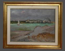 Picturi maritime navale barca pe lac