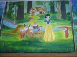 Picturi murale alba ca zapada si cei 7 pitici in padure