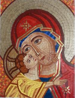 Picturi religioase Mozaic Maica Domnului cu pruncul