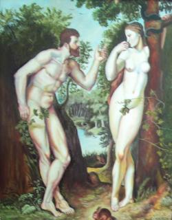 Picturi religioase Adam si Eva in rai