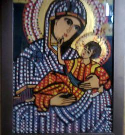 Picturi religioase Icoana pe sticla - Maica Domnului cu Pruncul I