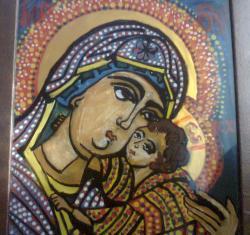 Picturi religioase Icoana pe sticla - Maica Domnului cu Pruncul II