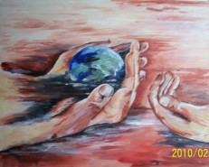 Picturi surrealism Earth in hands