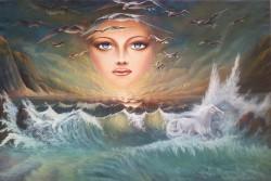 Picturi surrealism Vis la malul marii
