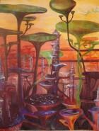 Picturi surrealism Oras suspendat