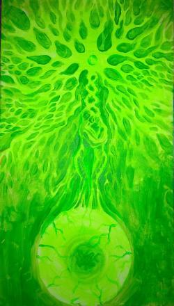 Picturi surrealism Structura biologica in verde crud